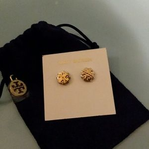 Tory Burch two tone logo earrings
